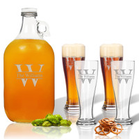 5 Piece Set: Growler  64 oz.  &  Pilsner Glass 16oz (Set of 4) Personalized Split Letter