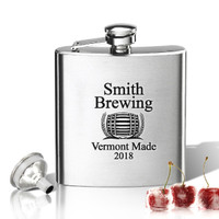 Stainless Steel Hip Flask (8 oz) Personalized to your desire. Brewing Design