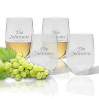 Stemless Wine Tumbler  (Set of 4) : Name or Phrase