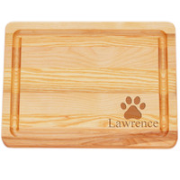 """Small Master Cutting Board 10"""" X 7.5"""" - Personalized Paw Print"""