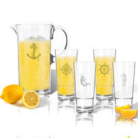 Entertaining Set: Tritan Pitcher and High Ball Glasses 16 oz (Set of 4): Nautical