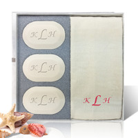 Eco-Luxury Gift Set - Red Monogram (3 Bars 1 Towel)