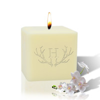 "3"" Soy Pillar Candle - Antler with Single Initial"