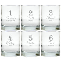 DAYS OF CHRISTMAS 1-6 OLD FASHIONED - SET OF 6 GLASS