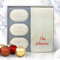 Eco-Luxury Gift Set - Personalized Merry Christmas! (3 Bars 1 Towel)