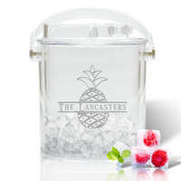 Personalized Insulated Ice Bucket with Tongs - Split Letter Pineapple