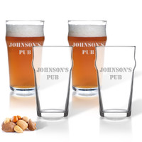 NONIC PINT GLASS SET OF 4 GLASSES ( Standard Carving Options )