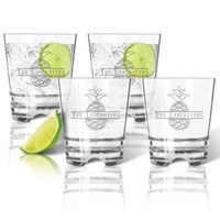 PERSONALIZED SPLIT LETTER PINEAPPLE DOUBLE OLD FASHION SET OF FOUR