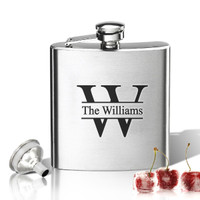 Stainless Steel Hip Flask (8 oz) Personalized to your desire.  Split Letter Name.