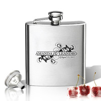 Stainless Steel Hip Flask (8 oz) Personalized to your desire.  Two name with date