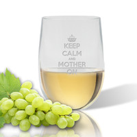 SINGLE  WINE TUMBLER(Unbreakable) - KEEP CALM and MOTHER ON