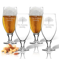 PERSONALIZED SET OF FOUR CERVOISE GLASS SET: Tree of Life with Celtic Name