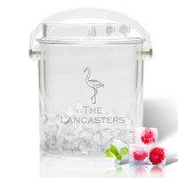 Personalized Insulated Ice Bucket with Tongs - Flamingo #2