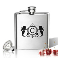 Stainless Steel Hip Flask (8 oz) Personalized to your desire.  Mermaid initial