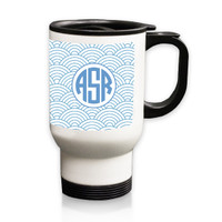 Personalized White Stainless Steel Travel Mug - 14 oz.Asian Elements - Wild Blue LupinCircle Monogram
