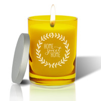 Citrine Soy Glass Candle - Home Sweet Home with Wreath