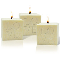 "4"" Pure Aromatherapy Palm Wax Candle - Love (Set of 3)"