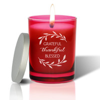 Ruby Soy Glass Candle - Grateful Thankful Blessed