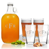 5 Piece Set: Growler  64 oz.  & Pub Glass  16 oz. (Set of 4) Personalized-PERSONALIZED