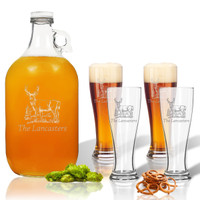 5 Piece Set: Growler  64 oz.  &  Pilsner Glass 16oz (Set of 4) Personalized Hillside Buck