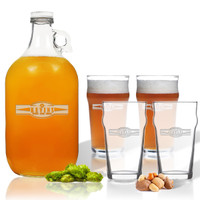 5 Piece Set: Growler  64 oz.  & Pub Glass  16 oz. (Set of 4) Personalized Sport Food Drinks