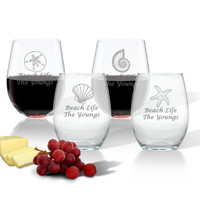 ICON PICKER WINE STEMLESS TUMBLER - SET OF 4 (GLASS)(Beach/Nautical)