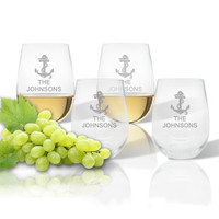 ICON PICKER Stemless Wine Tumbler (Set of 4) (Beach/Nautical)