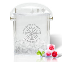 Personalized Insulated Ice Bucket with Tongs (GPS COORDINATES)