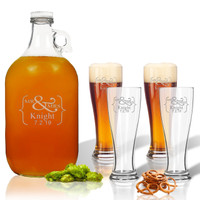 ICON PICKER 5 Piece Set: Growler  64 oz.  &  Pilsner Glass 16oz (Set of 4)(Prime Design)