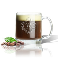 ICON PICKER PERSONALIZED LARGE MUG (GLASS)(Initial/Monogram Prime Design)