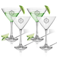 ICON PICKER PERSONALIZED COCKTAIL - SET OF 4 (GLASS) (Initial/Monogram Prime Design)
