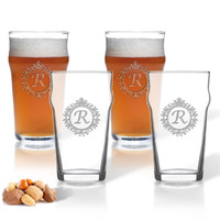 ICON PICKER NONIC PINT GLASS SET OF 4 GLASSES (Initial/Monogram Prime Design)