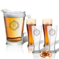 ICON PICKER Pitcher 60oz & (Set of 4)   16oz Pilsner Glasses(Initial/Monogram Prime Design)