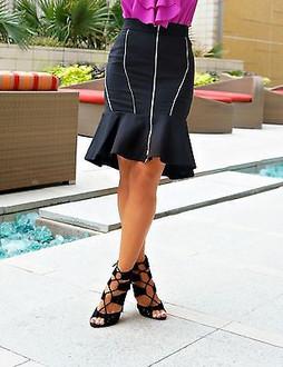 Zara Black Flounced Skirt With Zips