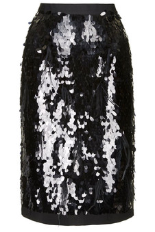 Topshop PREMIUM Black Sequin Feather Pencil Skirt
