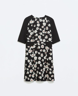 Zara Black Printed Pleated Dress
