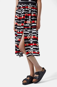 Topshop Black Ikat Print Splice Skirt