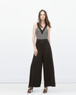 Zara Black & White Polka Dot Combined Jumpsuit