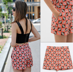 Zara High Waisted Salmon Geometric Print Shorts