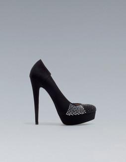 Zara Black Diamonte Platform Heels