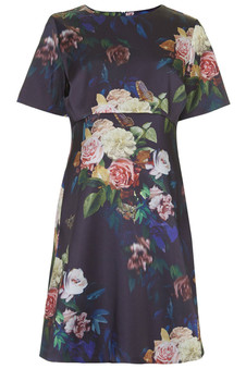 Topshop MATERNITY Blur Rose Print Satin Dress