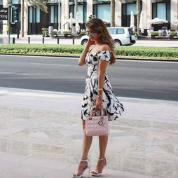 Zara Off White Black Printed Crepe Dress