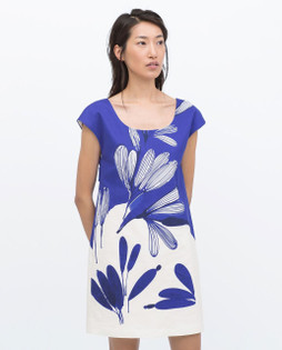 Zara Blue Printed Shift Dress