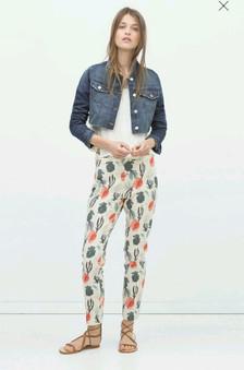 Zara Ocean Print Woven Trousers