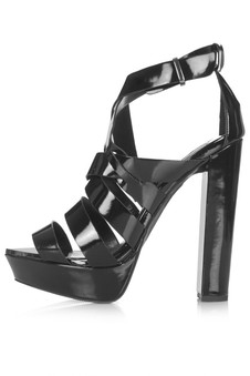 Topshop Black LUCKY Shiny Platform Sandals