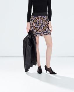 Zara Knitted Embroidered Geometric Skirt