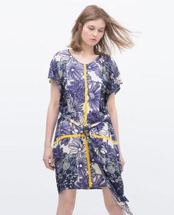 Zara Blue Printed Tunic Dress With Belt