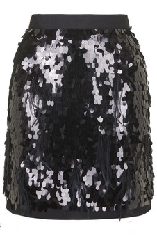 TOPSHOP PETITE PREMIUM BLACK SEQUIN FEATHER PENCIL SKIRT