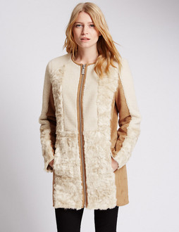 Marks & Spencer Faux Fur Borg Panelled Overcoat