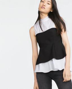 Zara Black Peplum Bustier Top